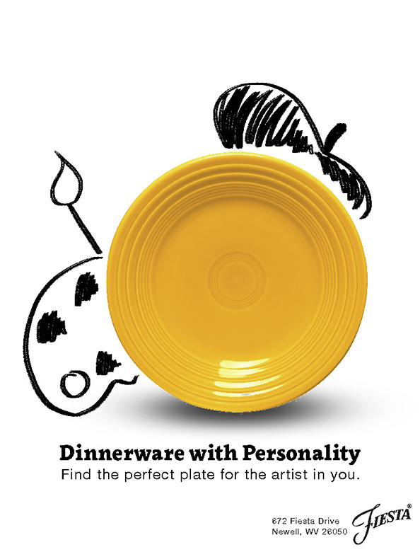 The artist personality's plate from the Dinnerware with Personality campaign. It is a yellow plate with dry-erase marker doodles around it. It has a beret hat, a palette with paint on it, and a paint brush.