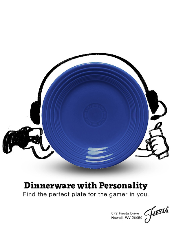 The gamer personality's plate from the Dinnerware with Personality campaign. It is a blue plate with dry-erase marker doodles around it. It has a headset, is holding a gaming console's controller in one hand, and an energy drink in the other.