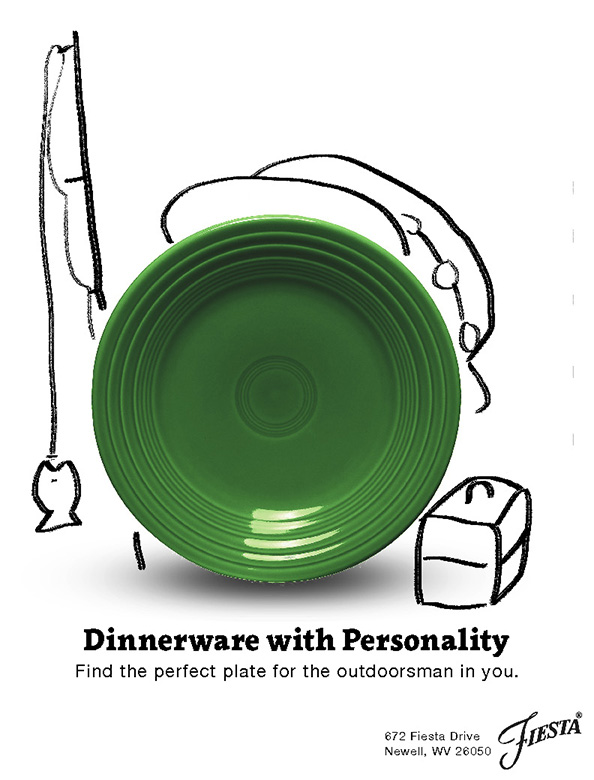 The outdoorsman personality's plate from the Dinnerware with Personality campaign. It is a green plate with dry-erase marker doodles around it. It has a boonie hat and is holding a fishing pole with a cartoon fish on the string. There is a closed tackle box to the side.