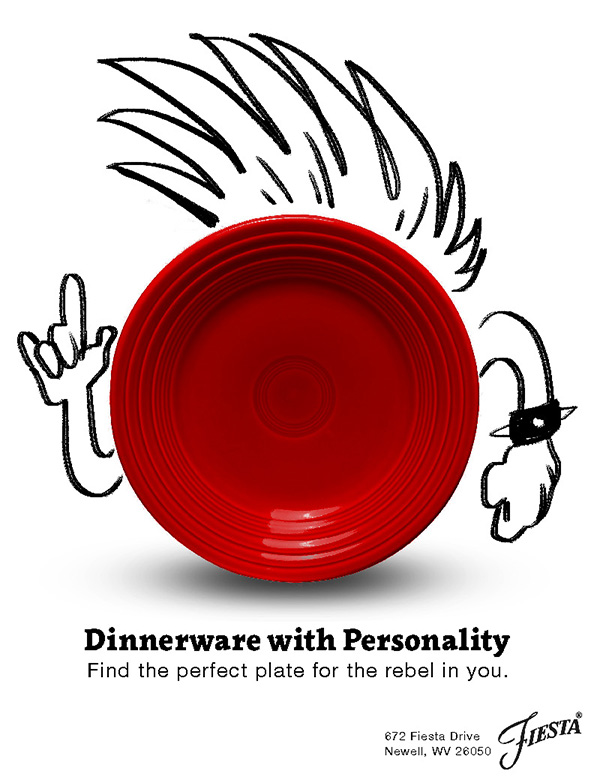 The rebel personality's plate from the Dinnerware with Personality campaign. It is a red plate with dry-erase marker doodles around it. It has a mohawk and is in a punk-ish pose.